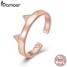 BAMOER 925 Sterling Silver Cat Ears Rose Gold Color Animal Ears Shape Open Paw Finger Rings Party Wedding Jewelry SCR387-3(China)