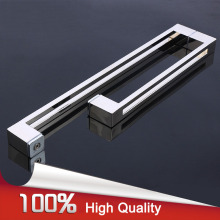 High Quality 304 Stainless Steel L Shape Frameless Shower Bathroom Glass Pull/Push Door Handles Chrome