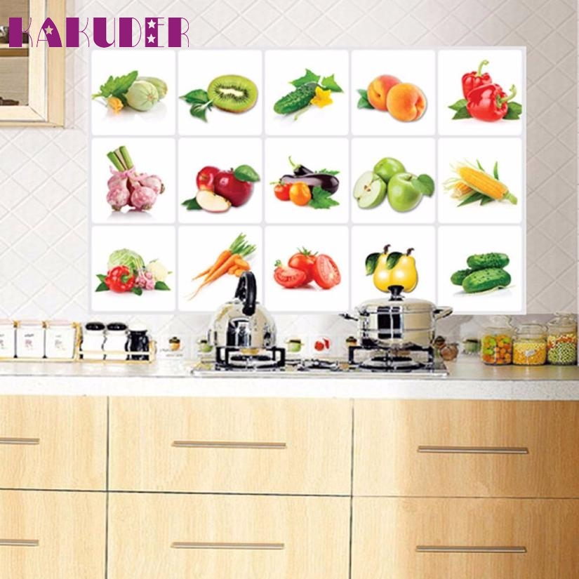 1pc Aluminum Foil Kitchen Oilproof Removable Fruit Pattern Wall Stickers Home Decor Home Decal 75cmx45cm Levert