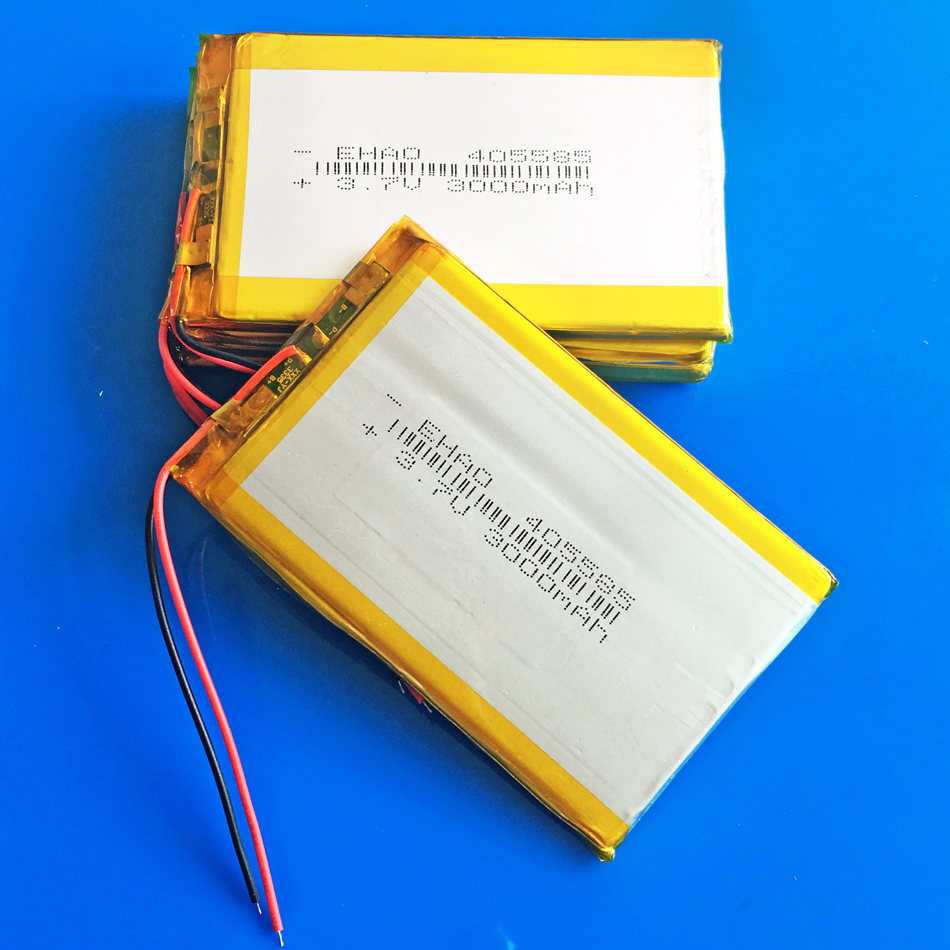 Lot 5 pcs 3.7V 3000mAh 405585 lipo polymer lithium rechargeable battery for GPS navigator DVD PDA PAD power bank e-book camera 3 7v 6000mah 40140100 lithium polymer li po rechargeable battery cells for gps psp dvd power bank pad diy e book tablet pc