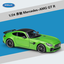 Welly Diecast 1:24 סולם סגסוגת דגם מכונית מירוץ מרצדס בנץ AMG GTR מכונית ספורט מתכת צעצוע מכונית לילדים צעצוע מתנת אוסף