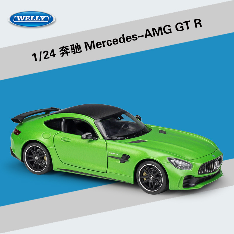 Welly Diecast 1:24 Scale Alloy Racing Car Model Car Mercedes Benz AMG GTR Sports Car Metal Toy Car For Kids Toy Gift Collection