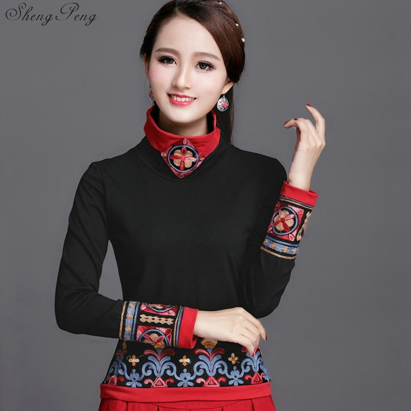 Traditional Chinese Clothing For Women Cheongsam Top Womens Tops And Blouses Elegant Ladies Retro Style Tops Q615
