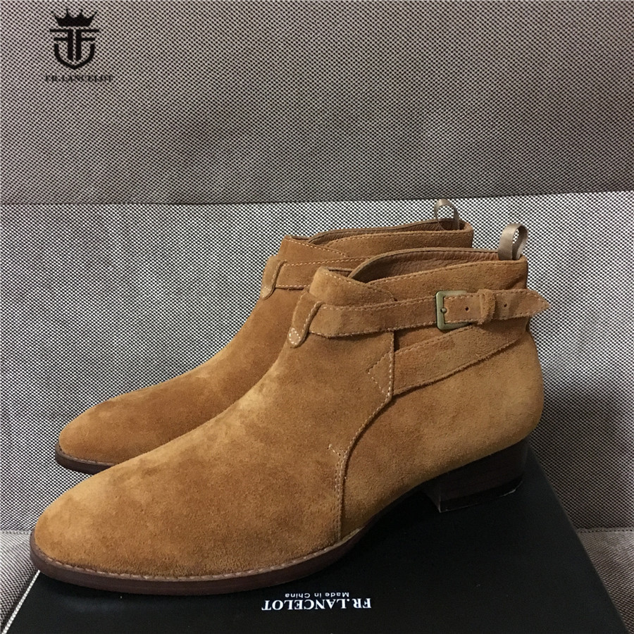 Handmade Customized NEW Qing-Zhilong Short Ankle Cross Straps Jouhpur Catwalk Suede Boot Wedge Short Ponited Toe Men Boots customized new exclusive design handmade
