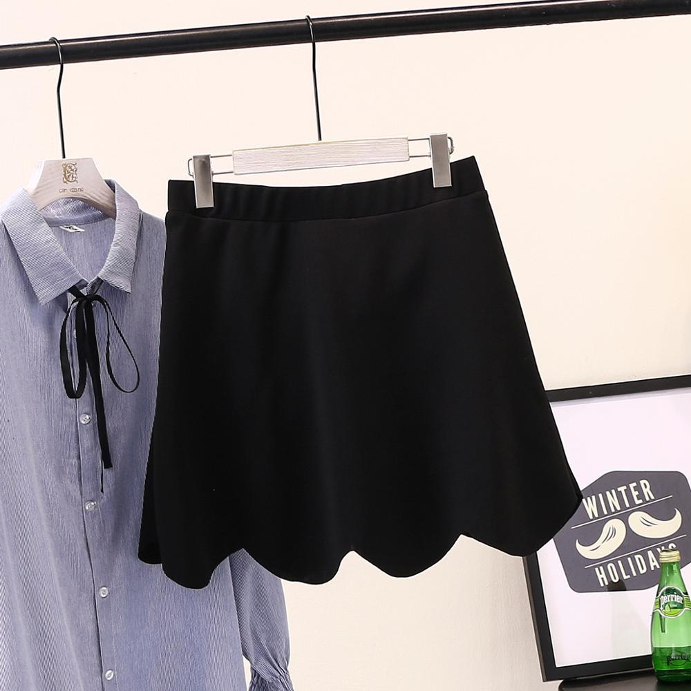 4SL 2019 summer fashion wild elastic waist wave large size women s skirt skirt ZHSHOU90 cherry