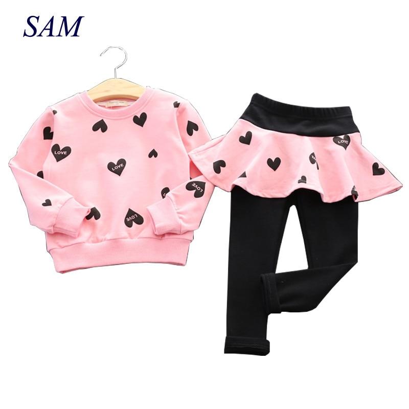 Toddler Girls Clothing Sets 2017 Autumn Winter Children Girls Clothes T-shirt+Pants Christmas Outfits Kids Girls Sport Suit