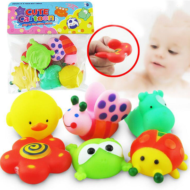 6Pieces Set Baby Shower Duck Hower Water Floating Squeaky Animals Rubber Float Sound Bathing Toys For Bathroom Gift In Bath Toy From