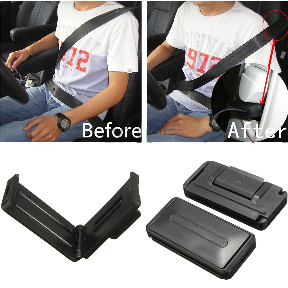 2Pcs Set Black Car Seat Belt Comfort Strap Adjuster Support Clip Improve Safety