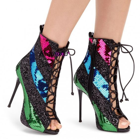 Latest Style Color Matched Peep Toe Sandal Booties Nightclub Sexy Cut-out Stiletto Heel Sandals Fashion Lace Up High Heels Women patrizia pepe мини юбка