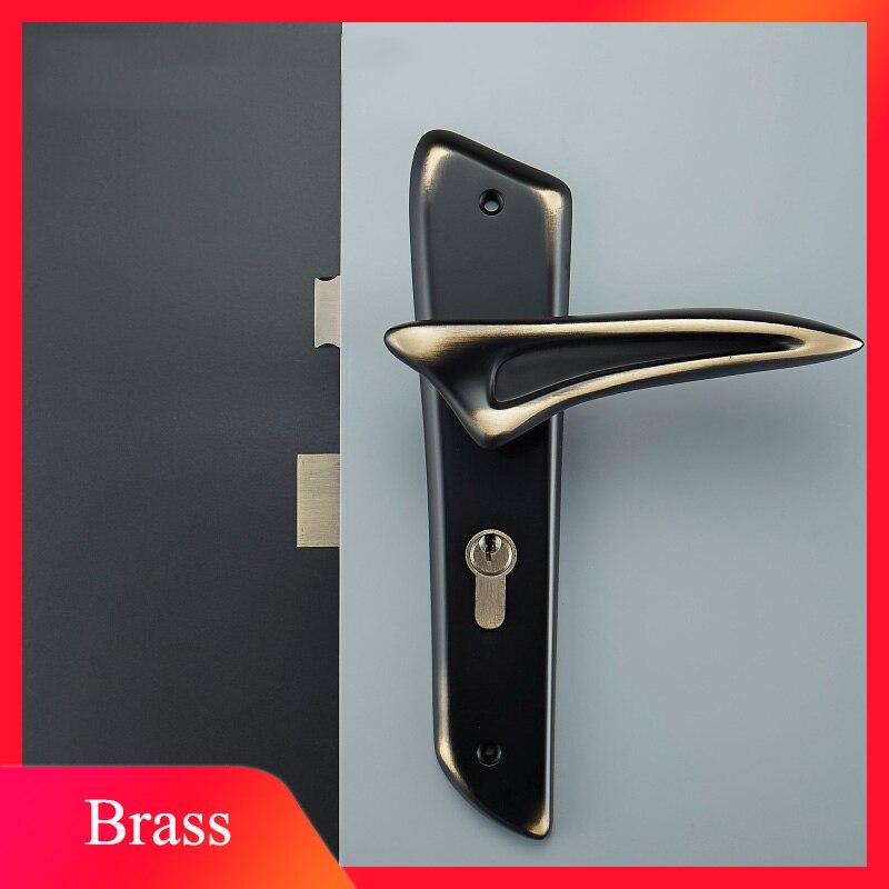 1 ensemble serrure de porte en laiton pour portes intérieures Design de personnalité Ultra moderne antivol chambre serrure de porte ensemble/4 couleurs JF1947 - 4