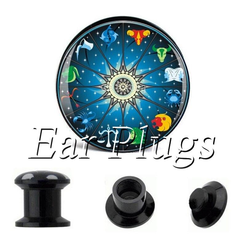 Wholesale Chinese Zodiac plug gauges acrylic screw ear plug flesh tunnel piercing body jewelry