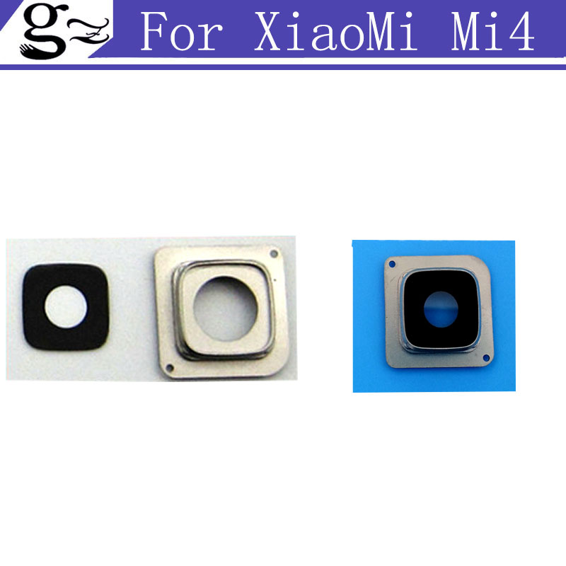 2pcs/lot Original For Xiaomi Mi 4 M4 Mi4 Rear Back Camera Glass Lens With Frame Cover Replacement Cell Phone Repair Spare Parts