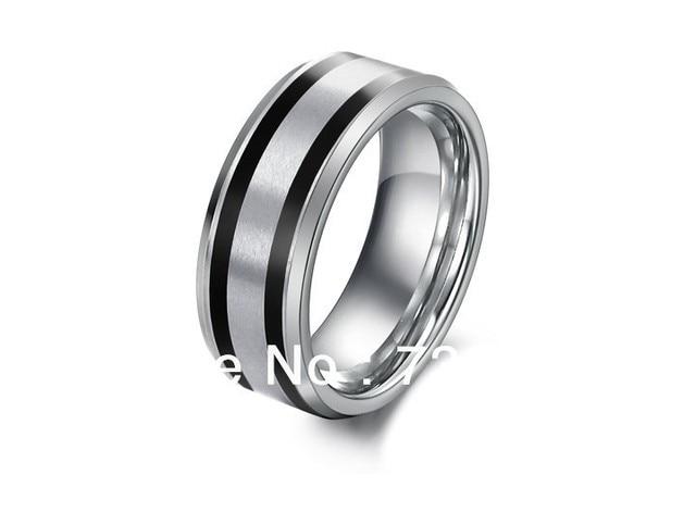 Free Shipping Black Stripe Silver Tungsten Carbide Men Ring S Jewelry Wedding Band Size 7