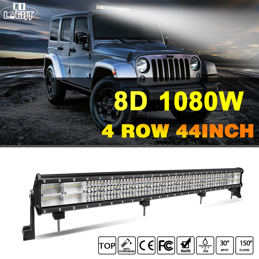 CO LIGHT 44 inch 1080W LED Light Bar 8D 4-Row Combo Offroad Led Bar Work Light for Tractor Truck ATV 4x4 Jeep Auto Driving Lamp 11 60w led work light bar for atv 4x4 combo led offroad light bar tractor offroad fog light work light seckill 36w 72w