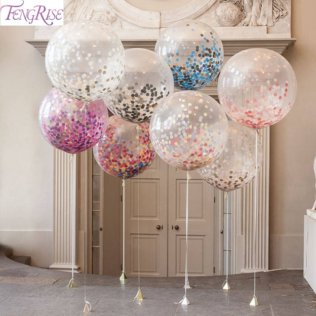 Fengrise 5pcs 36inch large confetti balloon multicolor latex fengrise 5pcs 36inch large confetti balloon multicolor latex balloons birthday party romantic wedding decoration party supplies junglespirit
