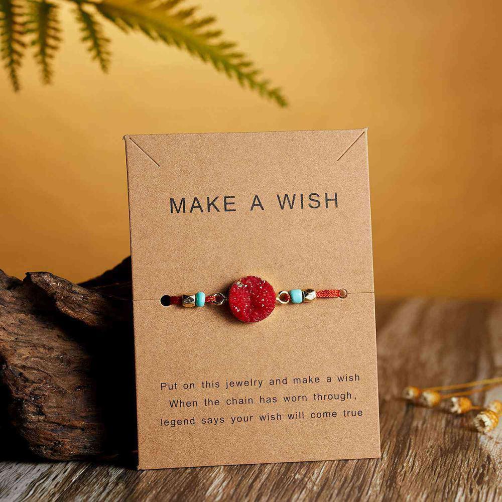 Натуральный камень Новая 7 цветная подвеска тканый браслет с картой Загадай желание регулируемый браслет из веревки для женщин очаровательные подарочные украшения - Окраска металла: 1