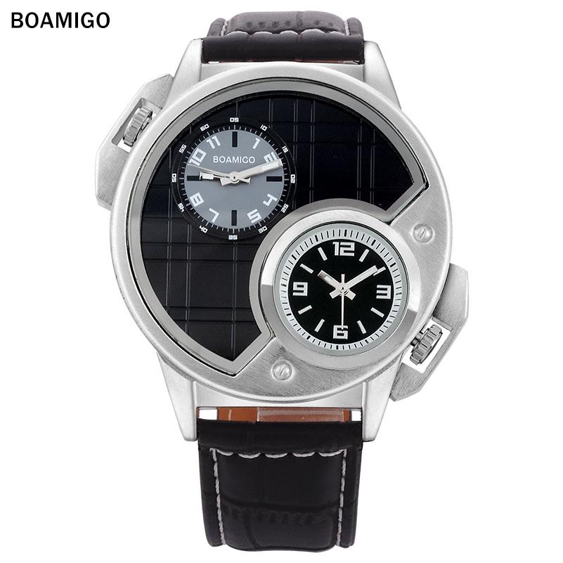 2016 BOAMIGO watches men luxury brand  fashion casual  sports watches Dual Time clock  Quartz Watch leather band wristwatches