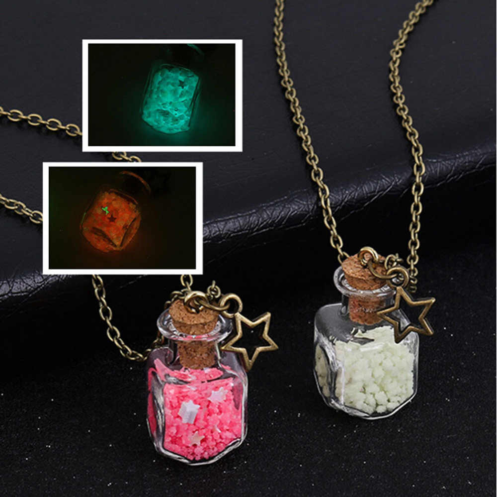 Drifting Bottle Beach Necklace Luminous Dream Sky Five-pointed Star Glass Bottle Necklace Choker Pendientes Ornaments Torque