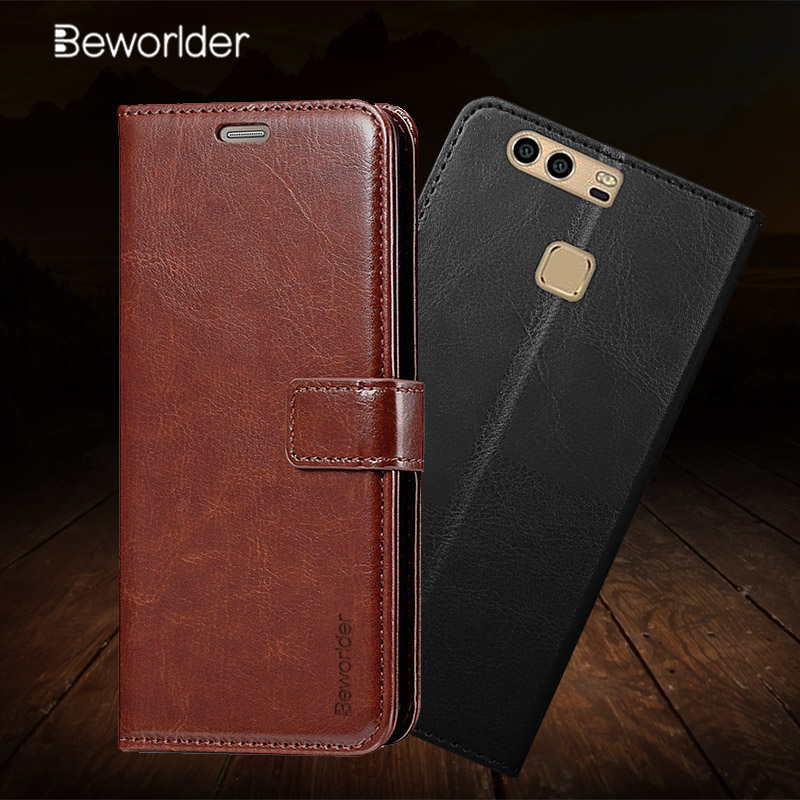 Beworlder For Huawei P9 Lite 2017 Case Huawei P9 Leather Case Flip Stand + Card Slot Photo Frame Cover For Huawei P9 Lite Case