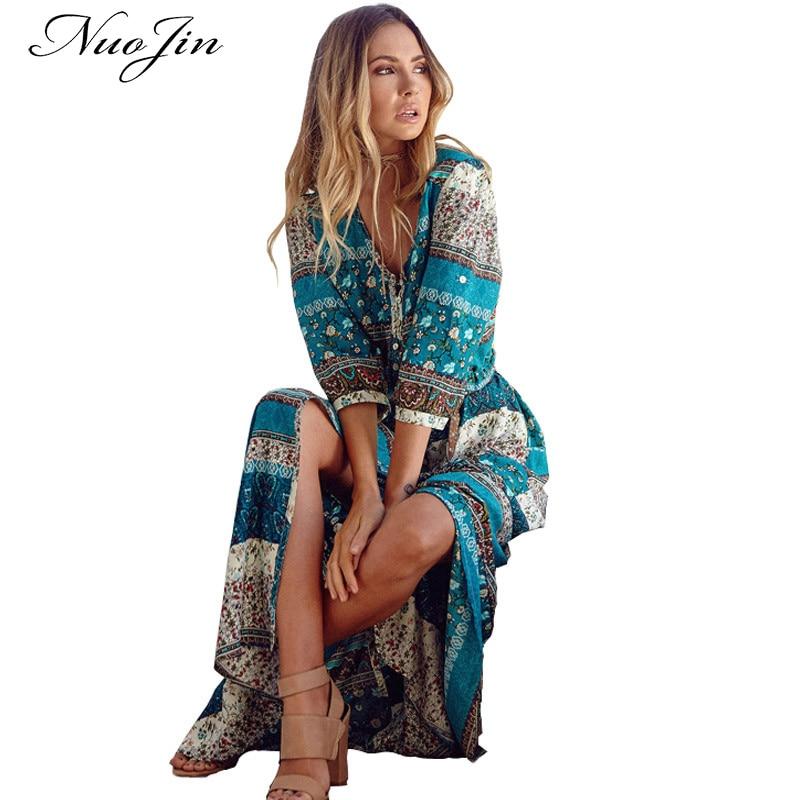 Long sleeve paisley maxi dress