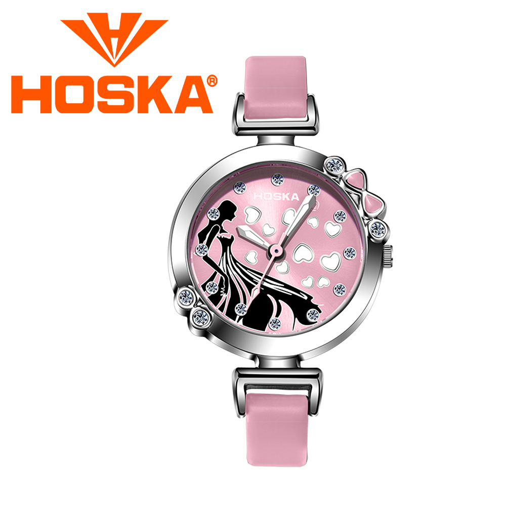 Brand HOSKA 2017 new Kids watches gilrs Quartz watch children's student Quartz-watch Cute colorful Cinderella waterproof 30M hoska hd030b children quartz digital watch