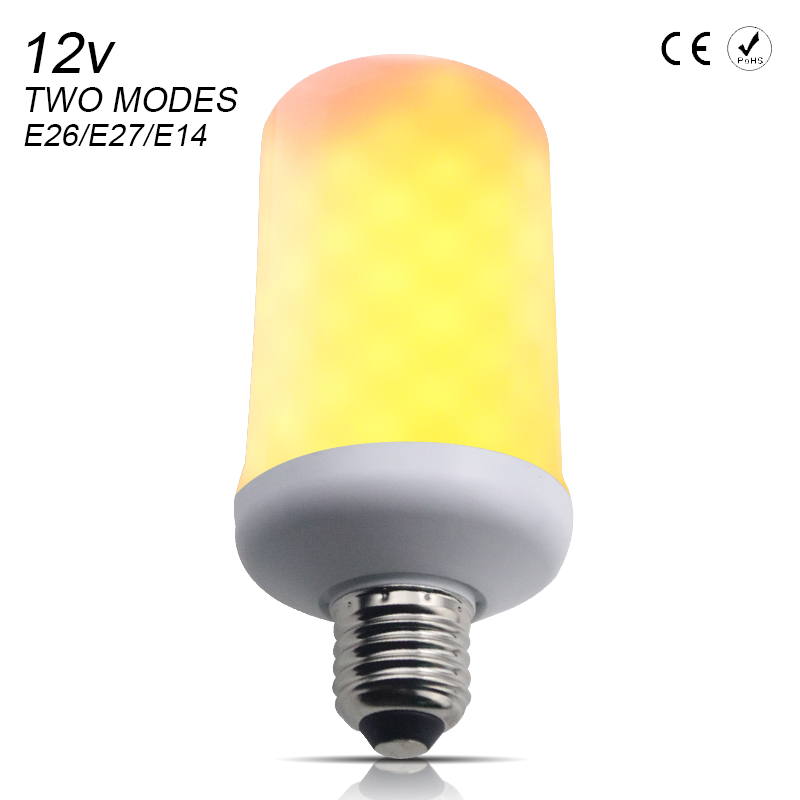 LED Flame Effect Bulb led flame lamps E26 2835SMD E14 led 12V Two Modes bombillas led e27 para el hogar 99leds Atmosphere lights