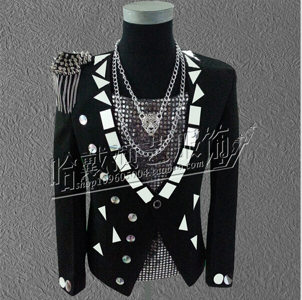 New Style Mirror Face Suit Men Singers EXO Bigbang Stage Show Suit Jacket The Host DJ DS Blazer Men Dress costumes