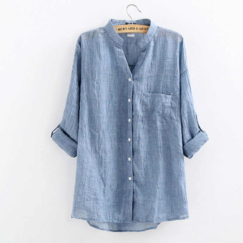 370e5c80139 Подробнее Обратная связь Вопросы о Женская рубашка с v образным вырезом и  длинными рукавами из хлопка и льна
