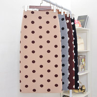 Winter Thick Cotton Candy Polka Dotted Knitted Long Pencil Skirts Autumn High Waist Back Split Mid Calf Slim Knit Skirts