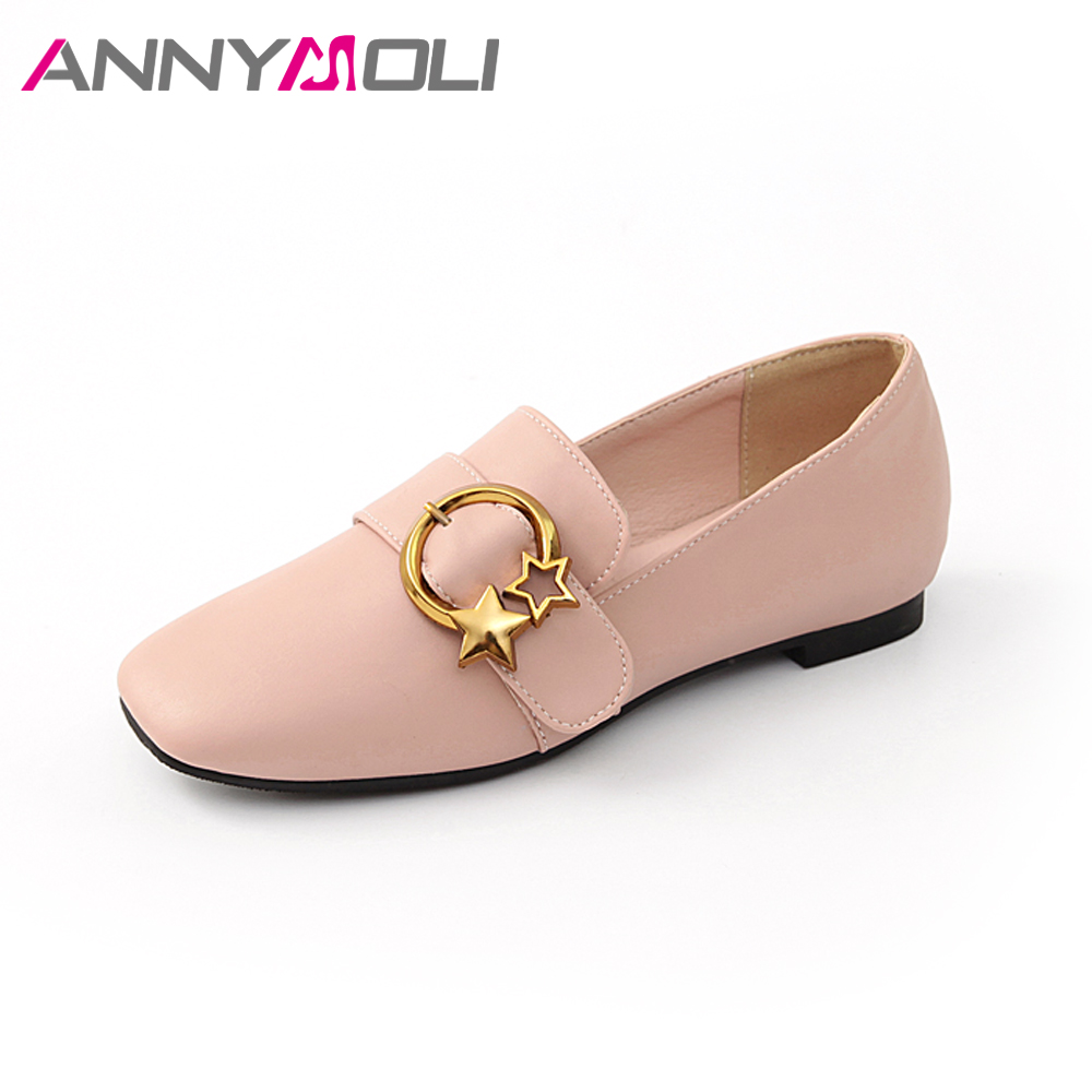 ANNYMOLI Flats Shoes Spring Women Loafers 2018 Slip On Metal Buckle Shoes Autumn Flats Square Toe Shoes Female Large Size 42 43 annymoli women flat platform shoes creepers real rabbit fur warm loafers ladies causal flats 2018 spring black gray size 9 42 43