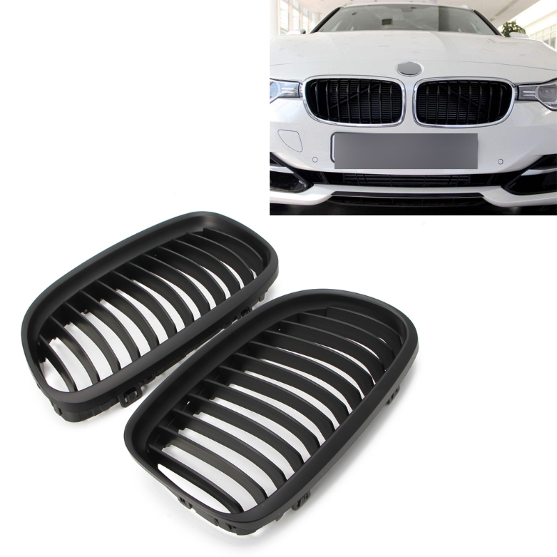2 Pcs Matte Black Front Kidney Grill Grille For BMW E90 E91 LCI 325i 328i 335i 08-11 Super Light Weight & Hard -M18 pair abs replacement gloss matt black m color 2 line kidney grille for bmw e90 e91 lci 325i 328i 335i 4door 2009 2010 2011 2012