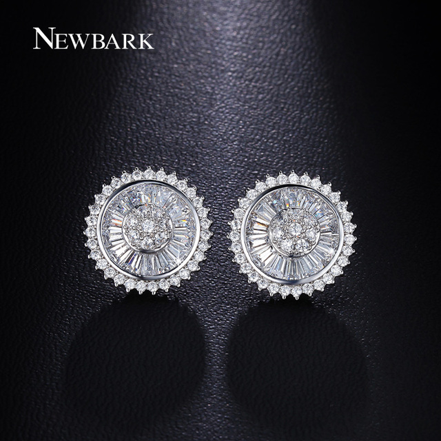 NEWBARK Vintage Ethnic Sunflower Stud Earrings Square And Small Round CZ Embed Silver Color And Gold Plated Earrings Bijoux