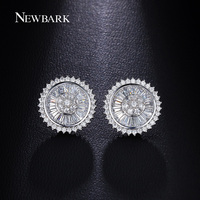 Disc Shape Baguette Round Cut Cubic Zircons Stud Earrings Flat Plate With Rare Trapezoidal CZ Earring