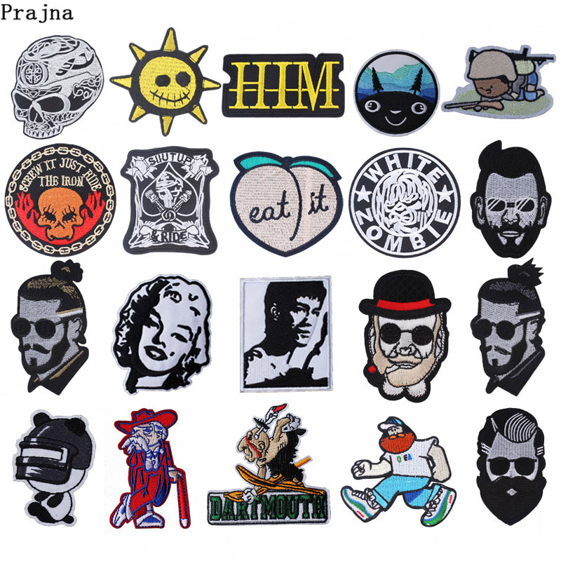 Prajna Movie White Zombie Patches Marilyn Monroe Iron On Patches On Clothes Stripe Punk Skull Embroidered Patch Diy Applique F