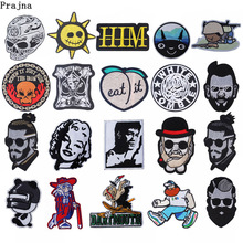 Prajna Movie White Zombie Patches Marilyn Monroe Iron On Clothes Stripe Punk Skull Embroidered Patch Diy Applique F