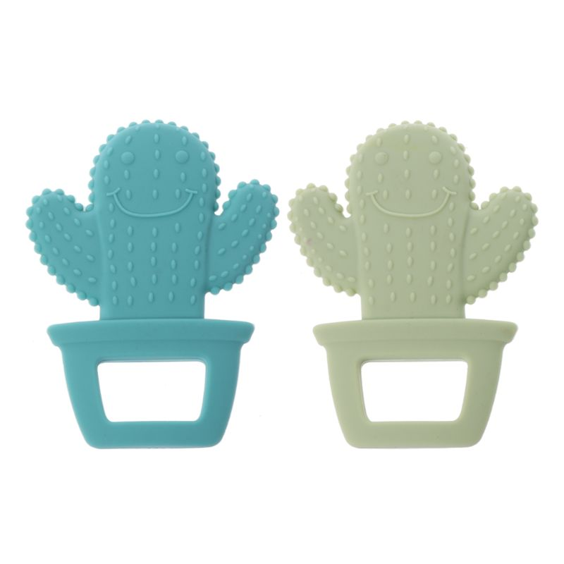 OOTDTY Cute Cactus Baby Teether Pacifier Teething Nursing Silicone BPA Free Necklace Toys