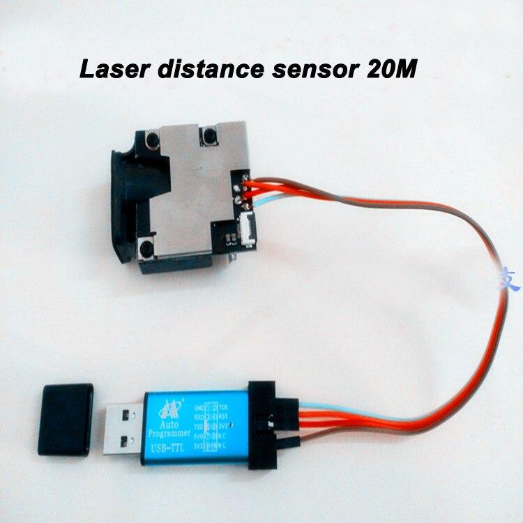 Gratis verzending Hoge precisie laser sensor 20 M 20 HZ USB TTL Seriële poort STC microcontroller laser afstand meten sensor + 1