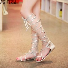 AGUTZM New 2018 Shoes Women Sandals Lace Up Sexy Knee High Boots Gladiator Tie String Casual Flat Tube high 26cm V168