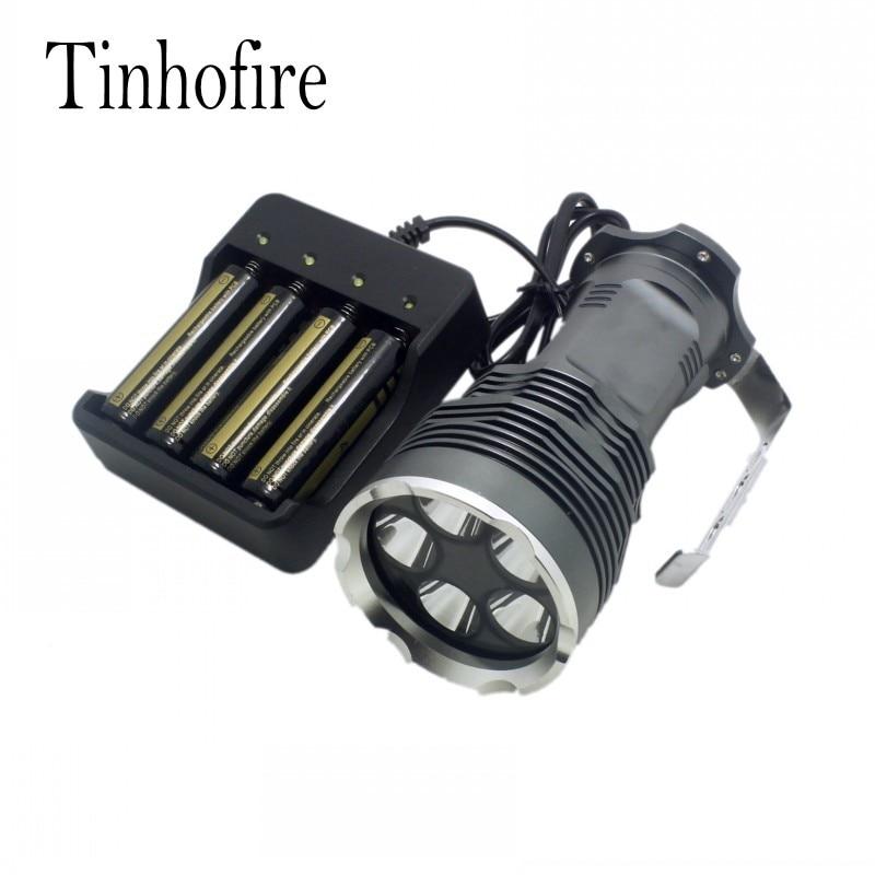 Tinhofire 35W Hot Sell 6000 Lumens CREE XML XM-L 5x T6 LED Flashlight Torch USE 4x 18650 Lamp light 5xT6+4battery+4slot charger tinhofire 6870 cree xm l 2 2000 lumens l2 led flashlight torch light lamp micro usb input 5v charger with battery