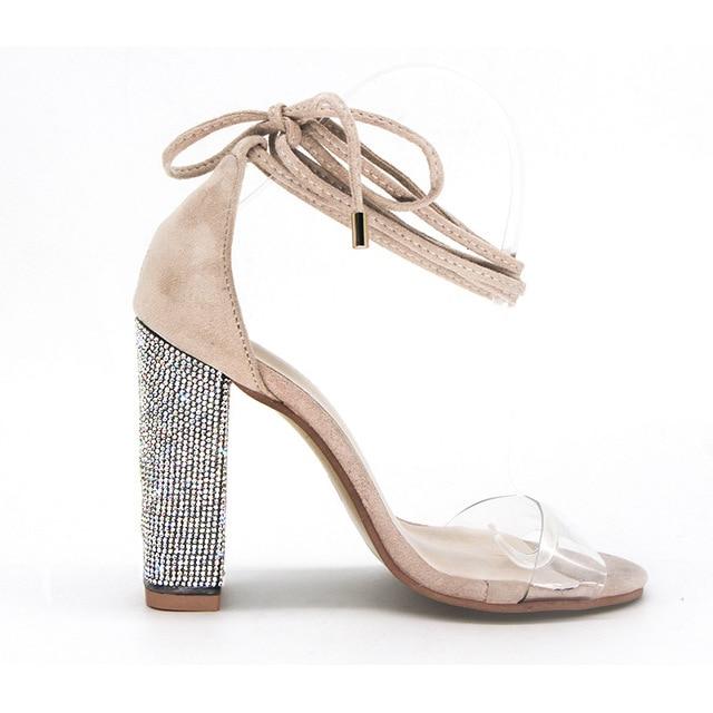 Big size 34-43 Women Heeled Sandals Bandage Rhinestone Ankle Strap Pumps Super High Heels 11 CM Square Heels Lady Shoes new #265 5