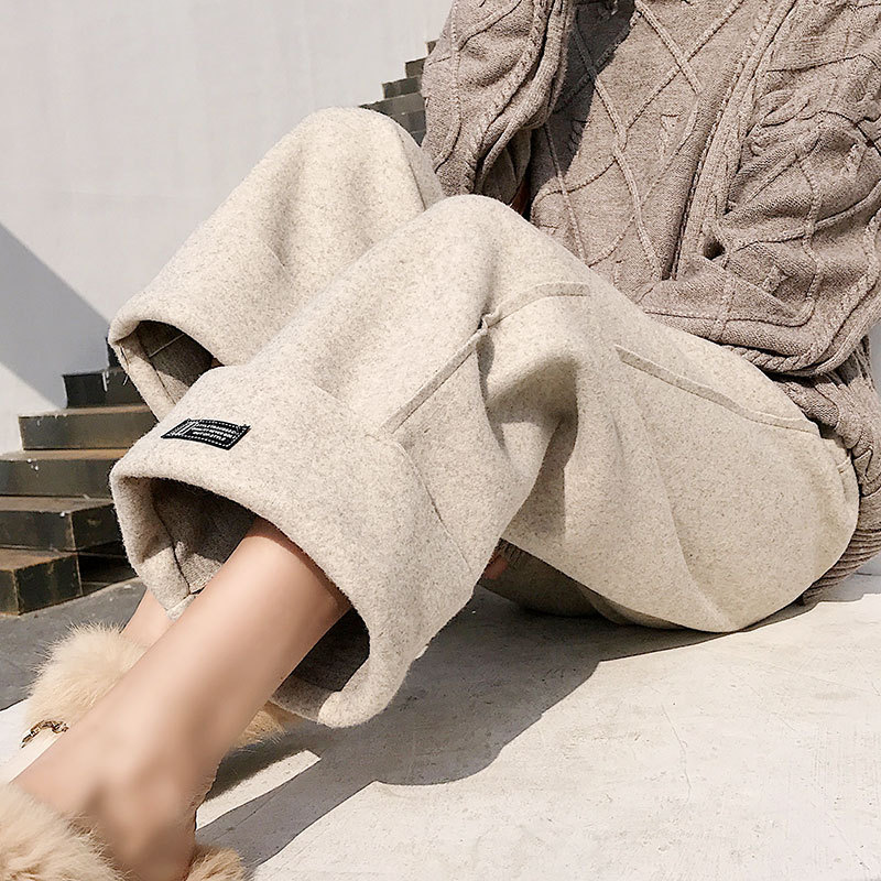 Woolen wide leg pants female autumn and winter nine points 2019 new gentle wind loose students high waist drop straight pants