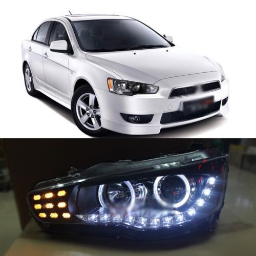 Ownsun Aggressive Lookiing DRL Projector Angel Headlight for Mitsubishi Lancer 09-2011