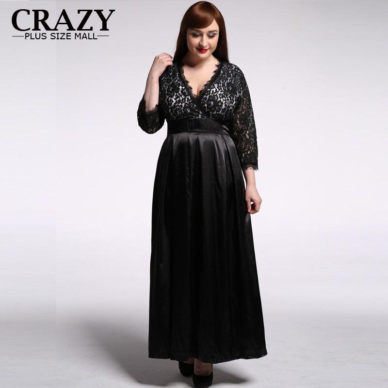 Grande taille dentelle robe 2019 L-7XL femmes élégant manches longues noir Sexy col en v tenue de soirée douce Leah robe taille 7XL 6XL 5XL 6016