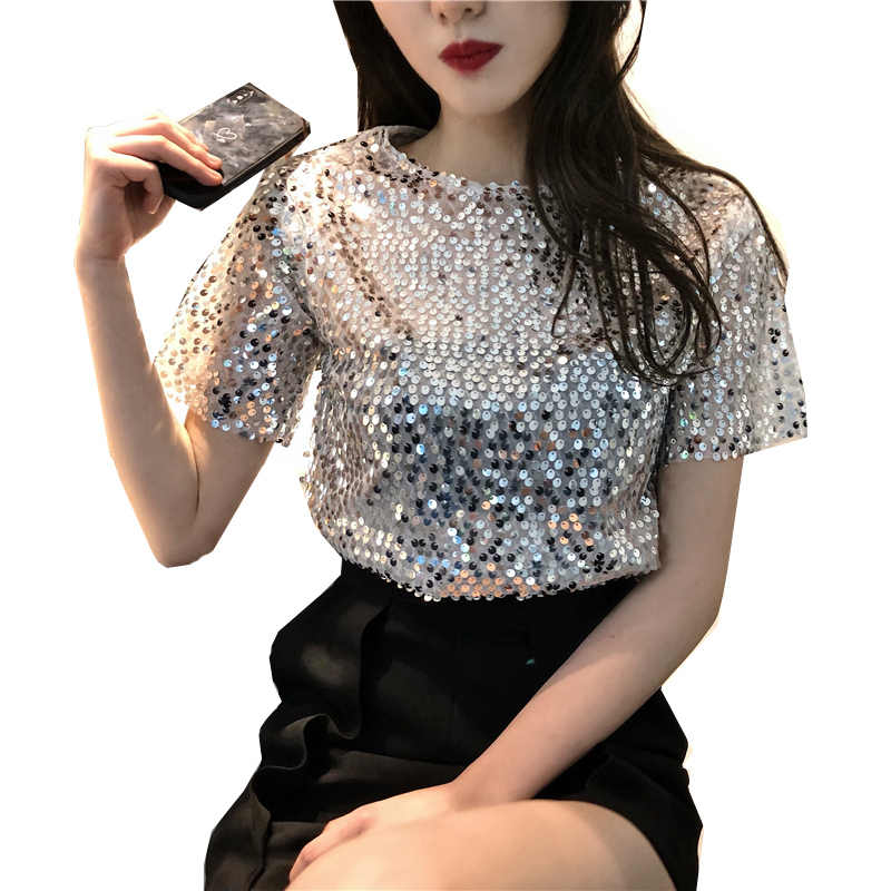 abbe1838ddd Fashion Sexy Women Sequined T shirt New Summer Vintage Shirts O Neck Short  Sleeve Mesh Sequin