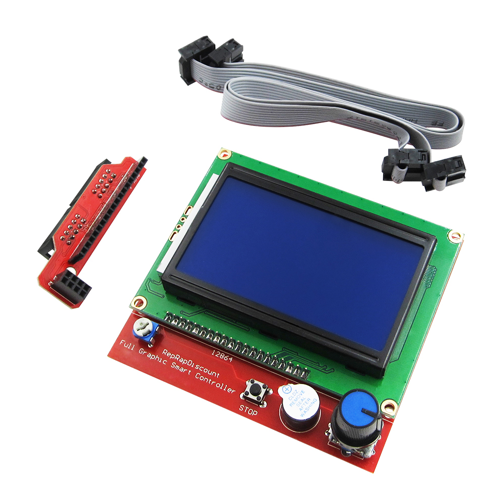1sets 3D printer smart controller RAMPS 1.4 LCD 12864 LCD control panel blue screen 12864 lcd ramps parts ramps 1 4 controller control panel lcd 12864 display monitor motherboard blue screen module for anet a6