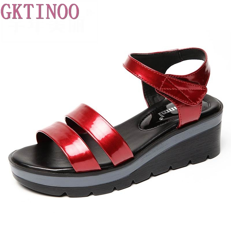 GKTINOO 2018 New Leather Women Platform Sandals Hook& Loop Wedge Sandals Summer Peep Toe Shoes Woman Plus Size 2016 new summer pep toe woman sandals platform thick heel summer women shoes hook