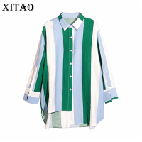 XITAO 2017 Autumn Japan Style Women Casual Contrast Color Blouses Turn Down Collar Striped Full