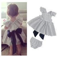 Kids Tales New Summer Toddler Girl Sweat Outfits Dress And Short Pants Set Striped Bow Baby