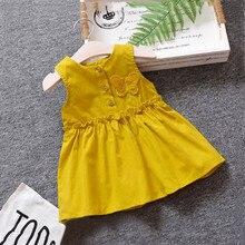 Детское платье для маленьких девочек; однотонное детское платье без рукавов с бабочками; сарафан на пуговицах; платья принцессы; vestidos robe Fille