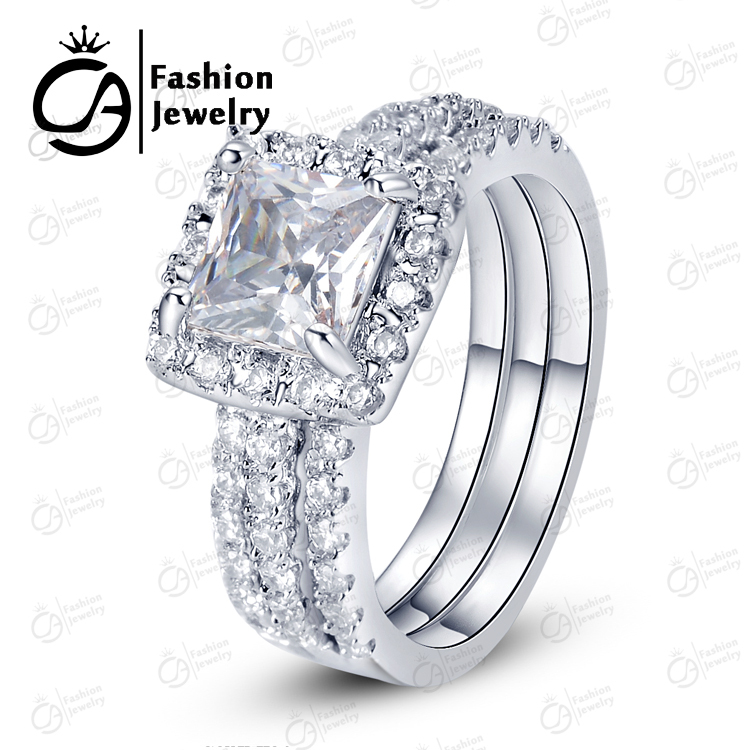 OLA High Quality White Gold Halo Bridal Set Round Cut Asscher Cubic